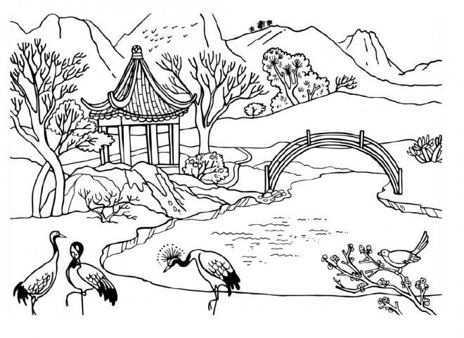 Coloriage Paysage Jardin Chinois dessin gratuit à imprimer