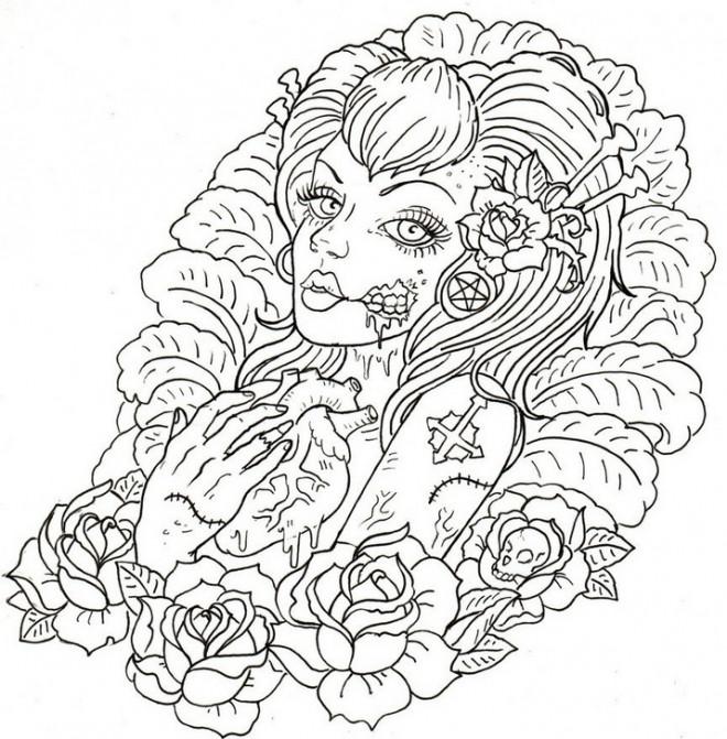 Coloriage Adulte Femme et Coeur Difficile dessin gratuit à