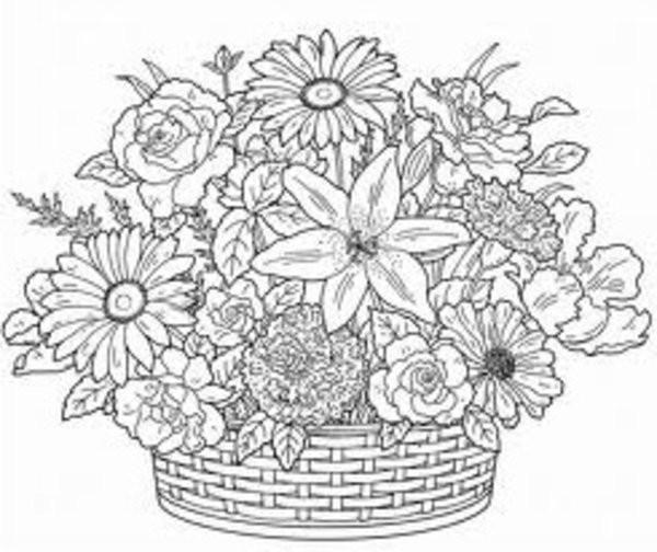Coloriage Panier plein de Fleurs Pour Adultes dessin
