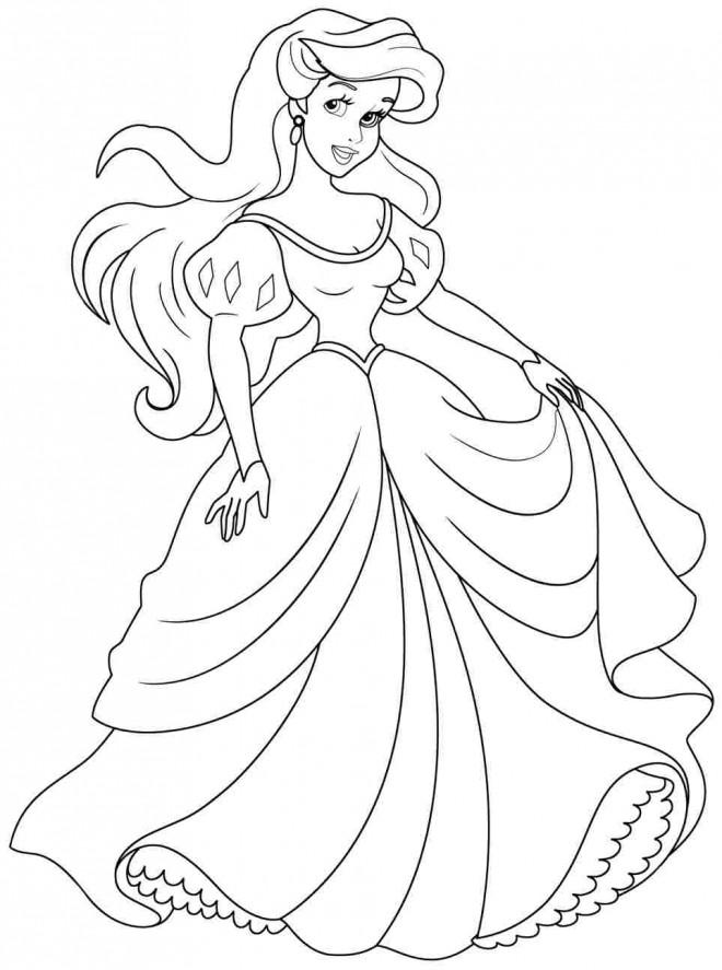 Coloriage Ariel en couleur dessin gratuit à imprimer