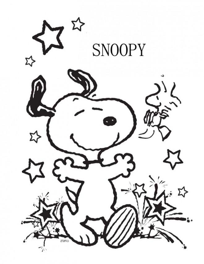 Coloriage Snoopy et L'oiseau Jaune dessin gratuit à imprimer