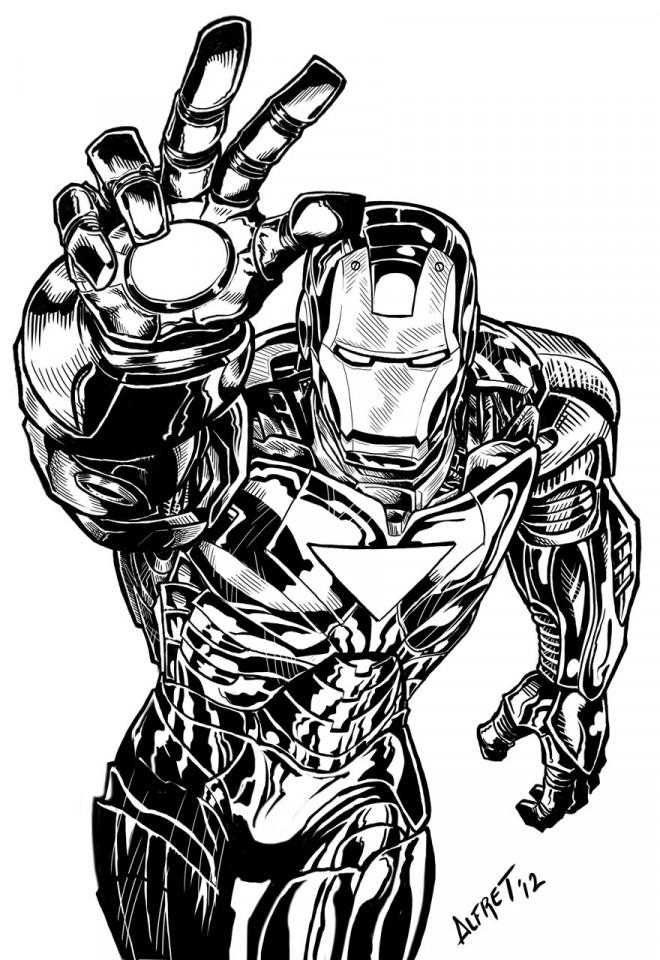 Coloriage Iron Man Marvel en noir et blanc dessin gratuit