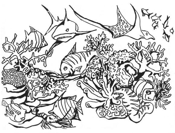 Coloriage Corail Poissons de mer en vecteur dessin gratuit
