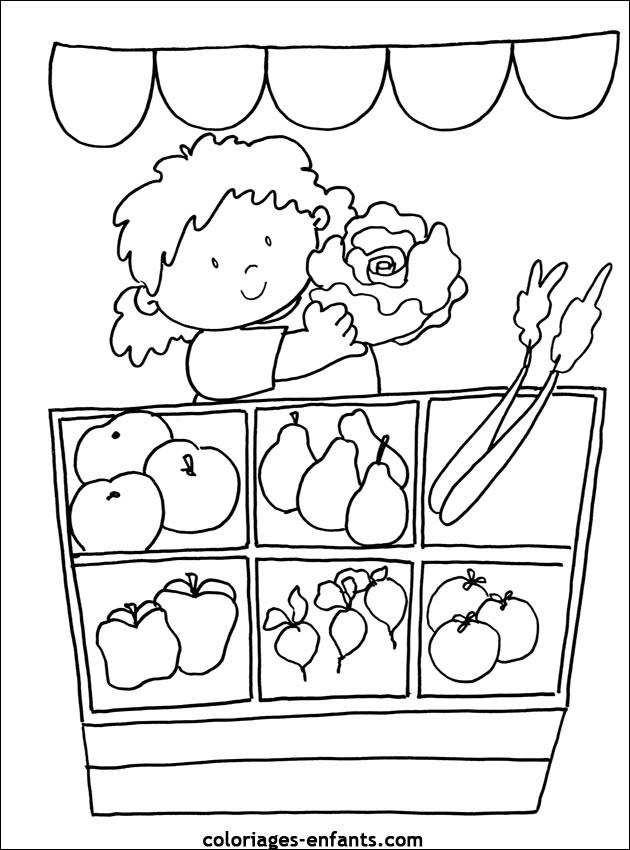 Coloriage Fille au marché des légumes