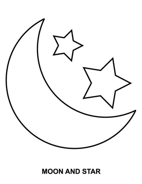 Coloriage Lune et Étoiles dessin gratuit à imprimer