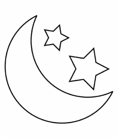 Coloriage Lune et Étoiles pour enfants dessin gratuit à