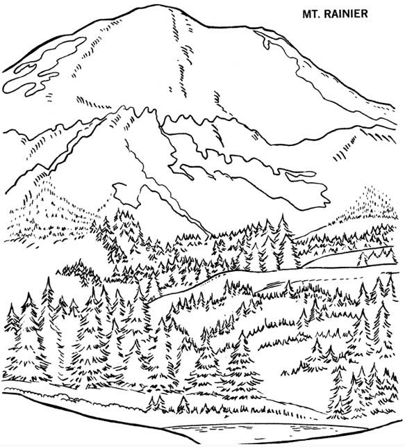 Coloriage Montagne et forêt dessin gratuit à imprimer