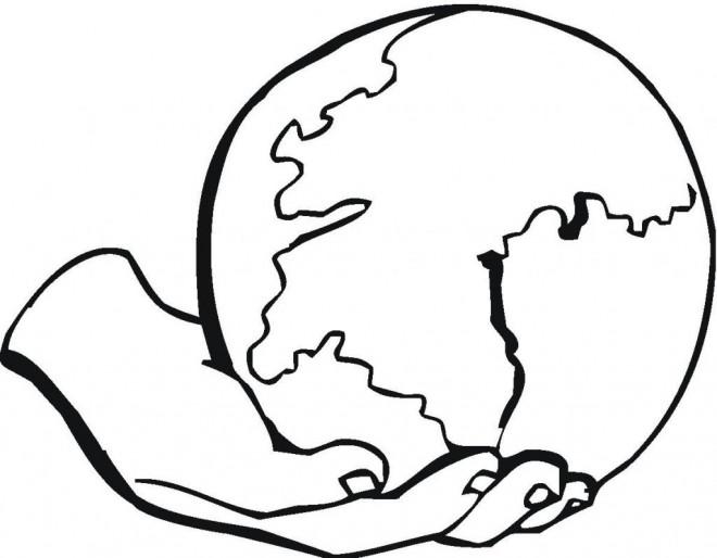 Coloriage Globe Terrestre dessin gratuit à imprimer