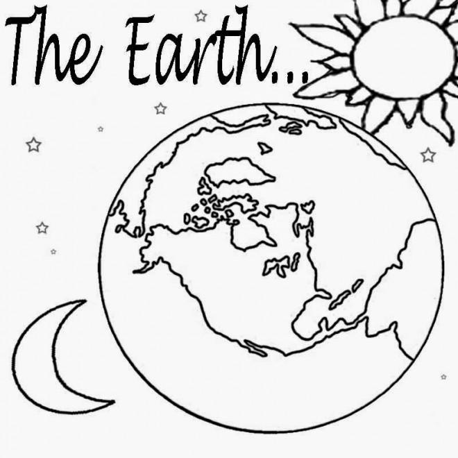 Coloriage terre, Soleil et Lune dessin gratuit à imprimer