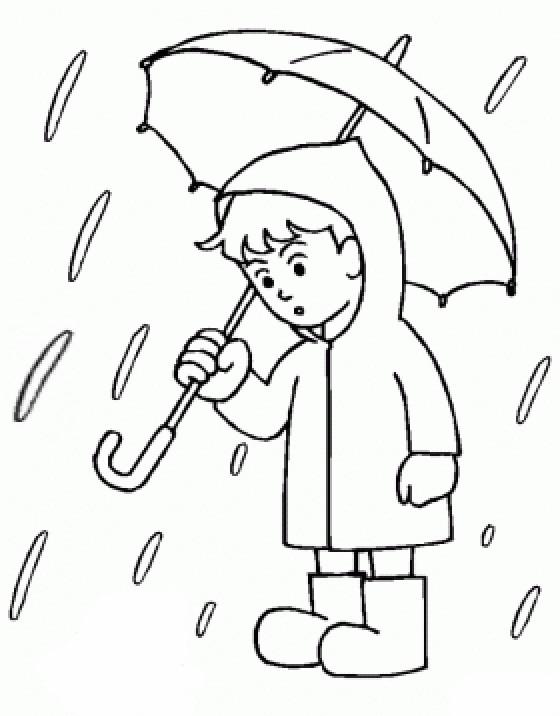 Coloriage Enfant et Pluie en couleur dessin gratuit à imprimer