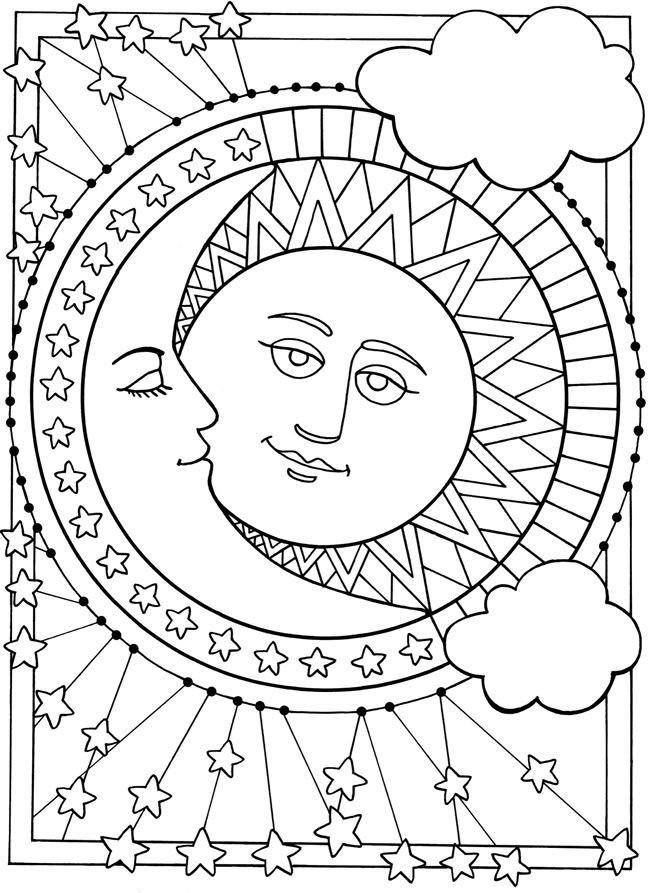 Coloriage Soleil et Lune mandala dessin gratuit à imprimer