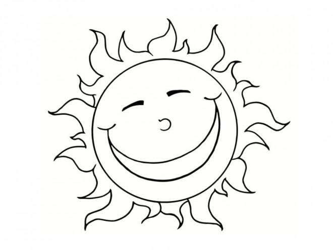 Coloriage Soleil heureux dessin gratuit à imprimer