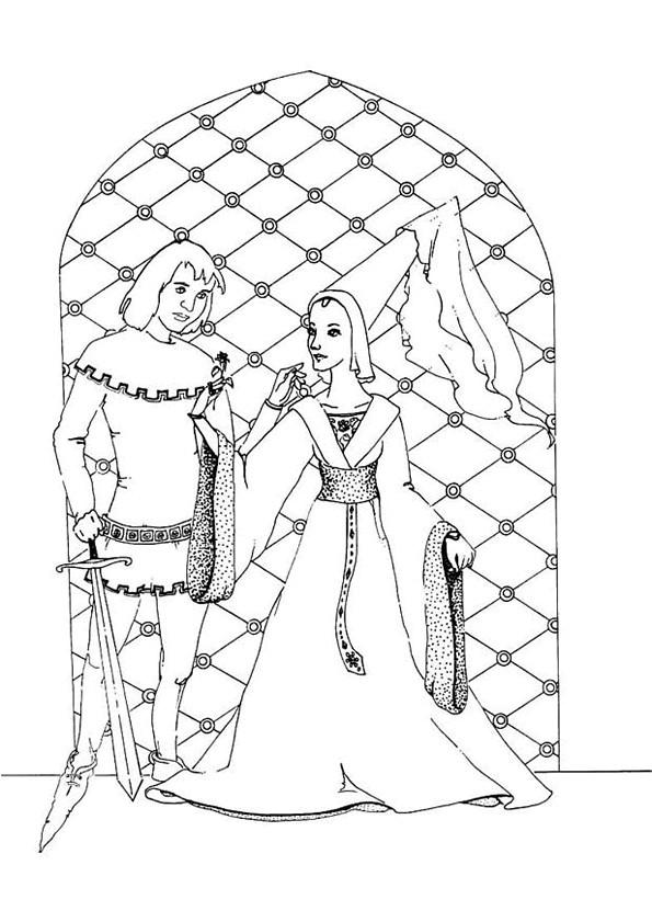 Coloriage Le prince et la princesse dessin gratuit  imprimer