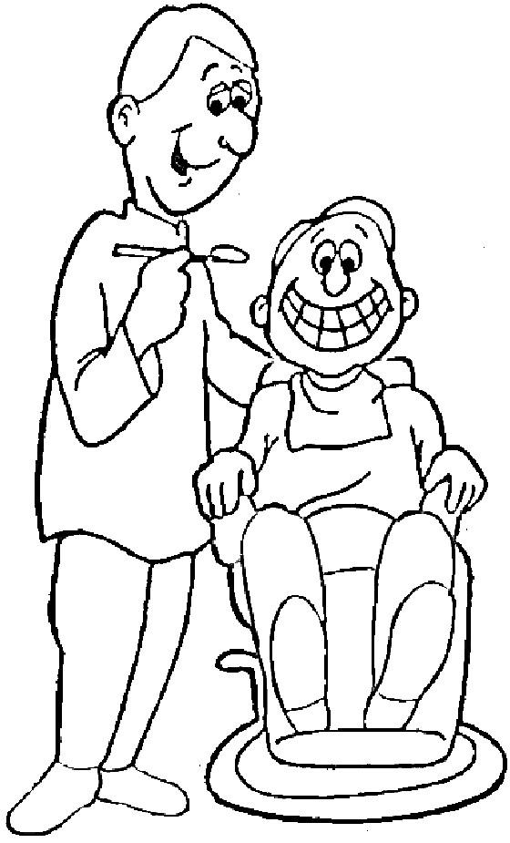 Coloriage Dentiste Et Enfant Sur Fauteuil Dentaire