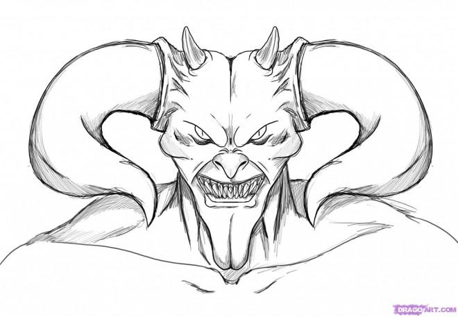 Coloriage Diable avec ses cornes dessin gratuit à imprimer