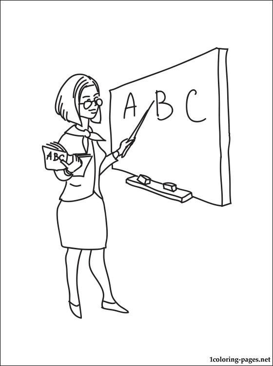 Coloriage Enseignante et tableau dessin gratuit  imprimer