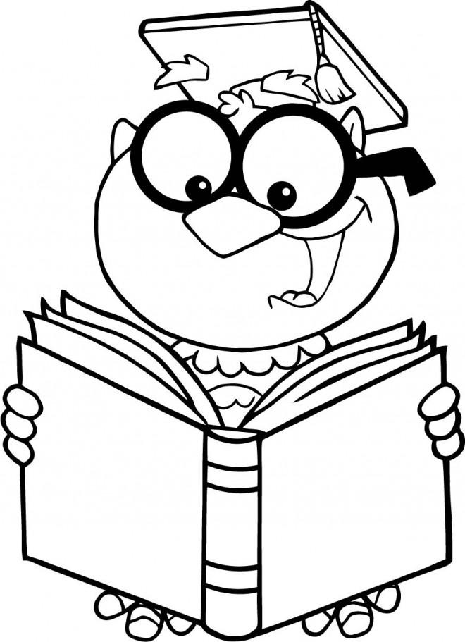 Coloriage Un professeur lit un livre dessin gratuit à imprimer