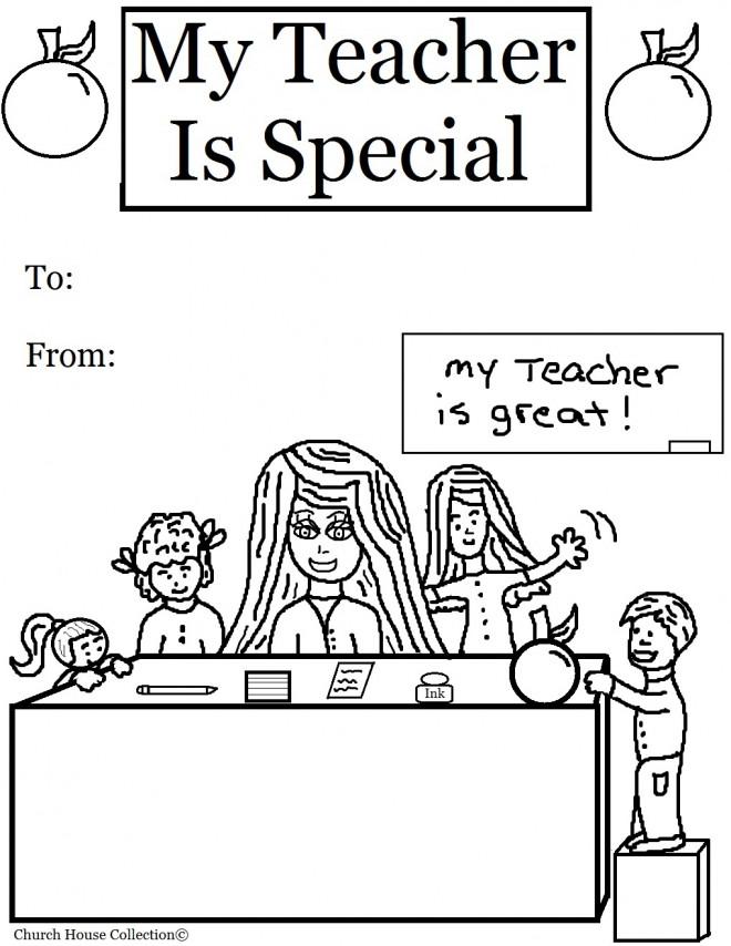 Coloriage Une carte d'élève pour sa maîtresse