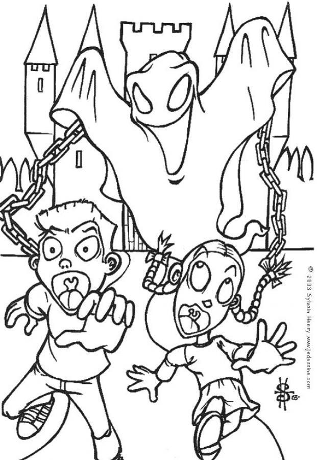 Coloriage Fantome très méchant dessin gratuit à imprimer