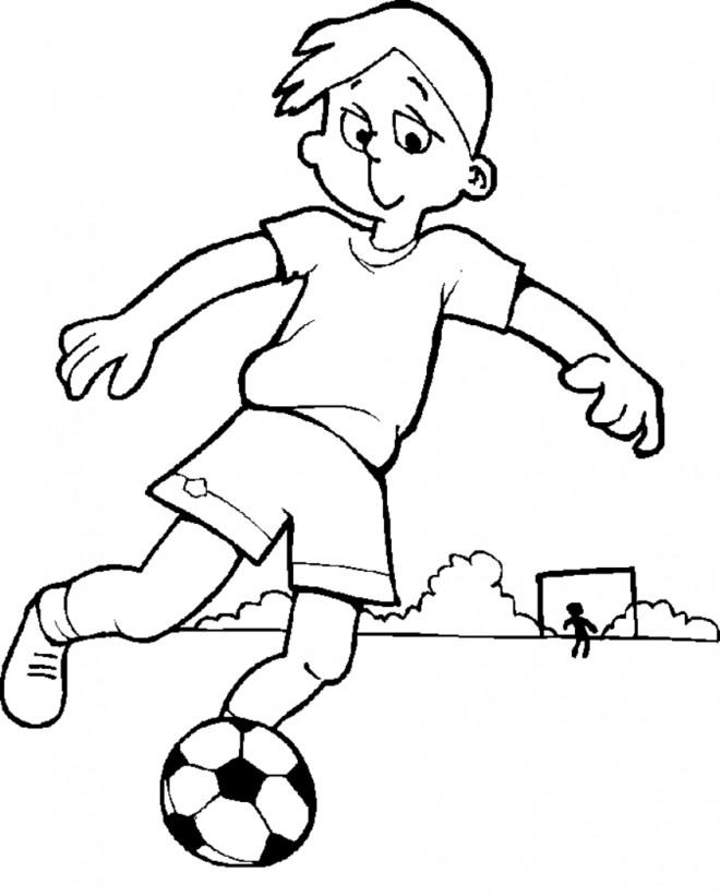 Coloriage Un enfant avec son ballon dessin gratuit à imprimer