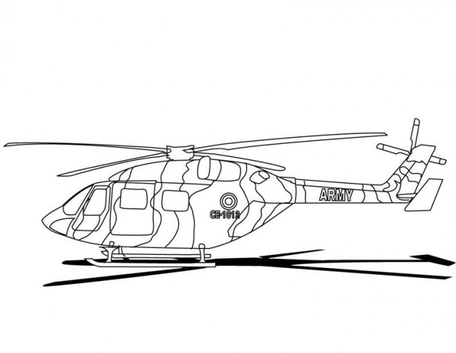 Coloriage Hélicoptère Militaire couleur