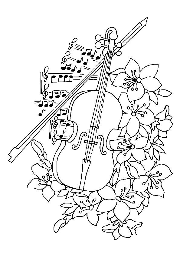 Coloriage Violon et fleurs dessin gratuit à imprimer