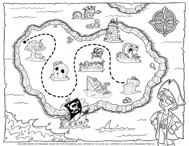 Coloriage Carte de trésor pour enfant dessin gratuit à