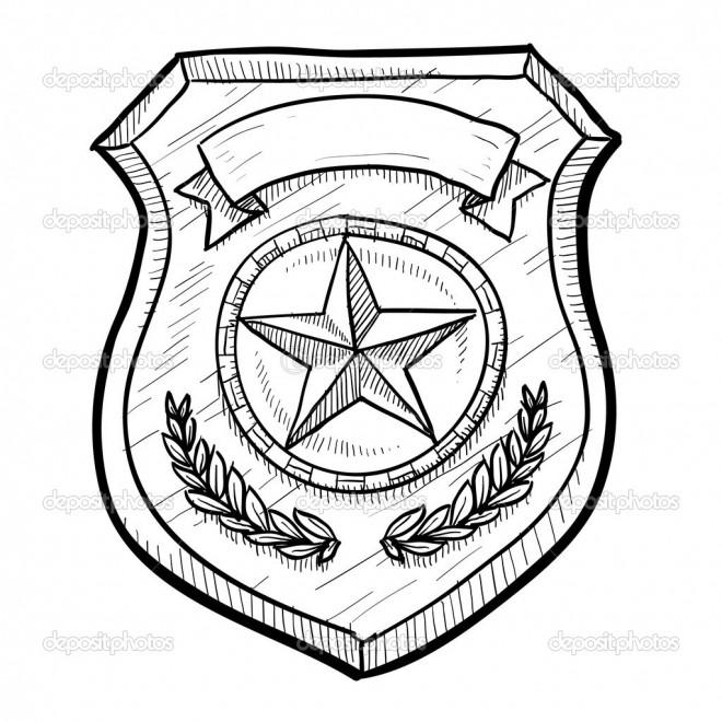 Coloriage badge de police américain dessin gratuit à imprimer