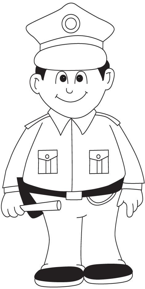 Coloriage Un jeune policier dessin gratuit à imprimer