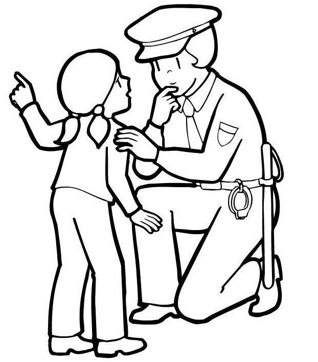Coloriage Un petite fille parle avec une agente de police