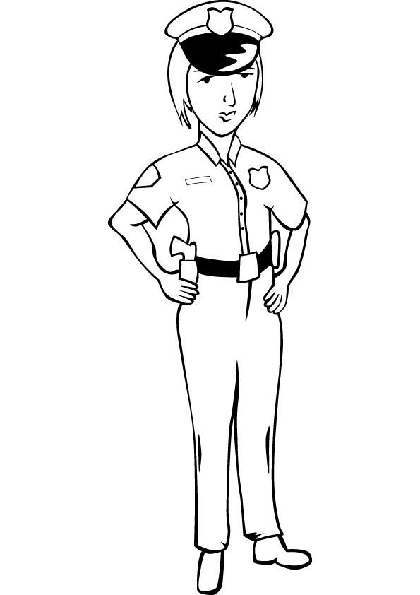 Coloriage Une policière en uniforme dessin gratuit à imprimer