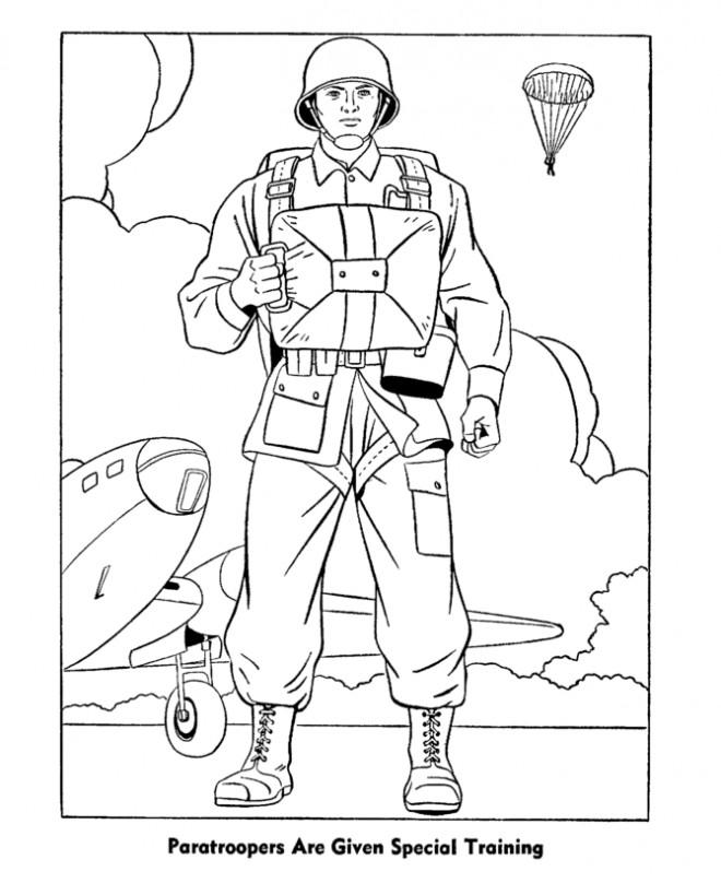 Coloriage Soldat Parachutiste couleur dessin gratuit à