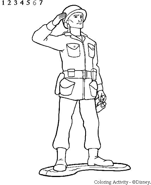 Coloriage Soldat saluant dessin gratuit à imprimer