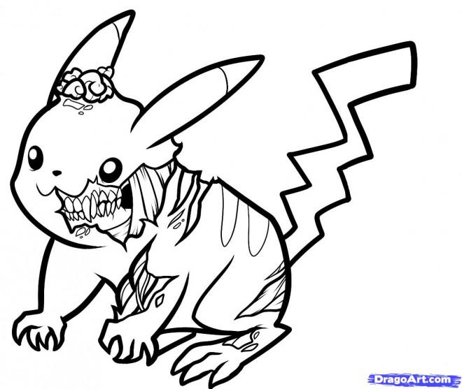 Coloriage Pikachu Zombie dessin gratuit à imprimer