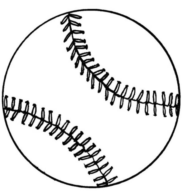 Coloriage Balle Baseball stylisé dessin gratuit à imprimer
