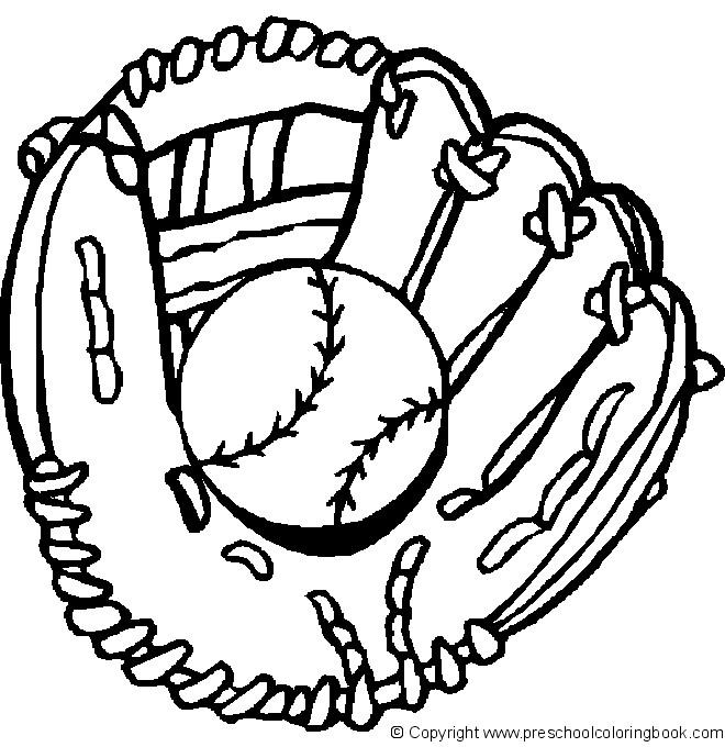 Coloriage Gant et Balle de Baseball en noir dessin gratuit