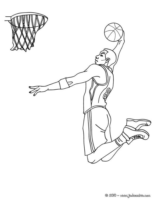 Coloriage Basketball Dunk dessin gratuit à imprimer