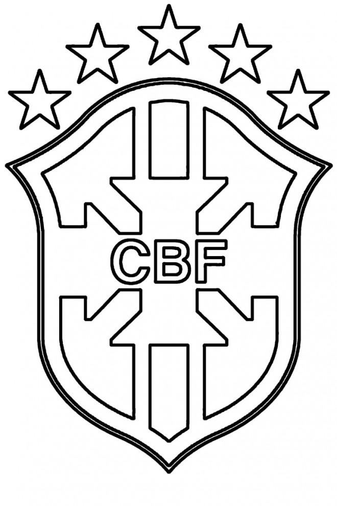 Coloriage Logo de Brésil football dessin gratuit à imprimer