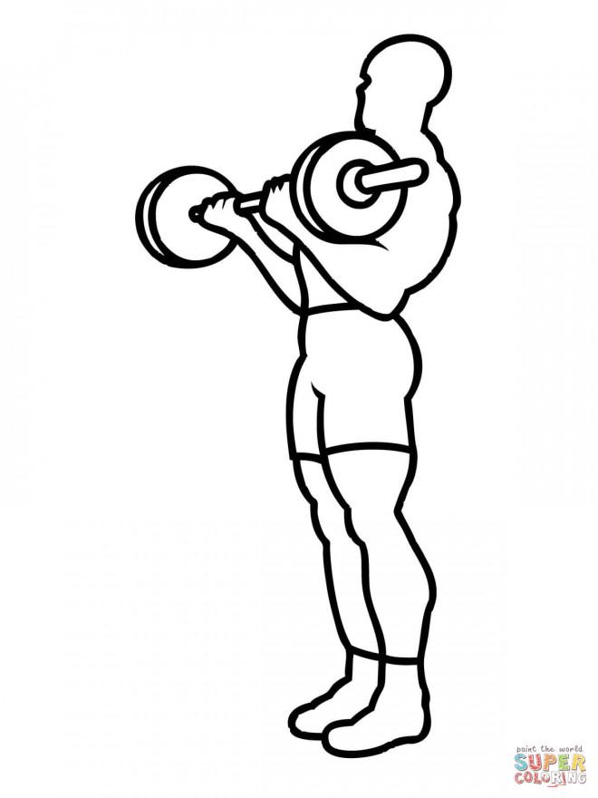 Coloriage Exercice de Musculation dessin gratuit à imprimer
