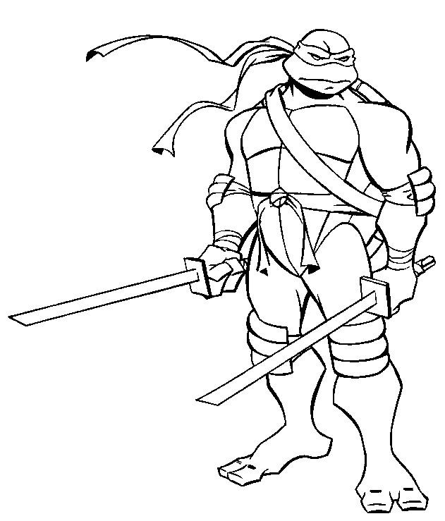 Coloriage Tortue Ninja Leonardo dessin gratuit à imprimer