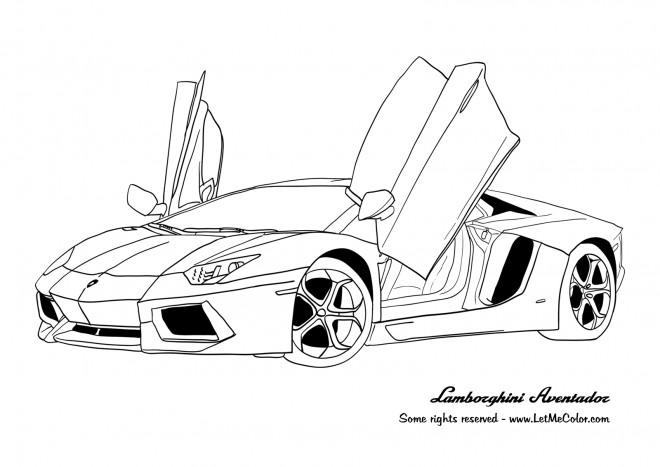 Coloriage Voiture Lamborghini Aventador dessin gratuit à