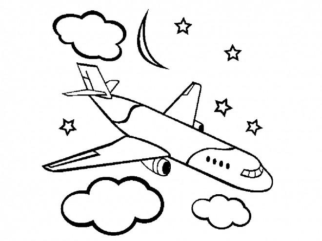 Coloriage Avion civile sous les nuages dessin gratuit à