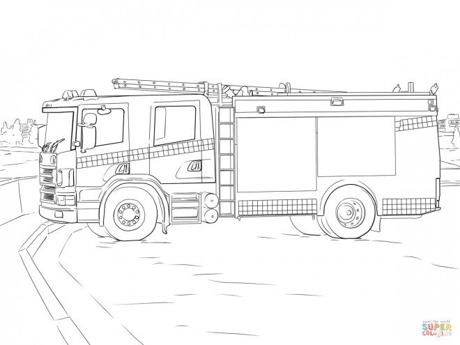 Coloriage Camion Pompier stylisé à découper