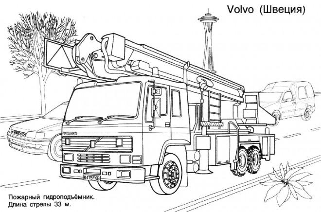 Coloriage Camion Pompier Volvo dessin gratuit à imprimer