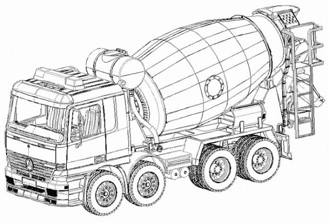 Coloriage Camion de Béton dessin gratuit à imprimer