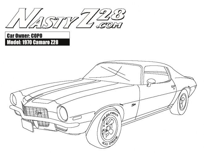 Coloriage Camaro modèle Z28 1970 dessin gratuit à imprimer