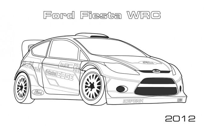Coloriage Ford Fiesta de Rallye dessin gratuit à imprimer