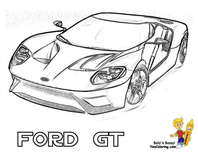 Coloriage Voiture de Sport Ford GT dessin gratuit à imprimer