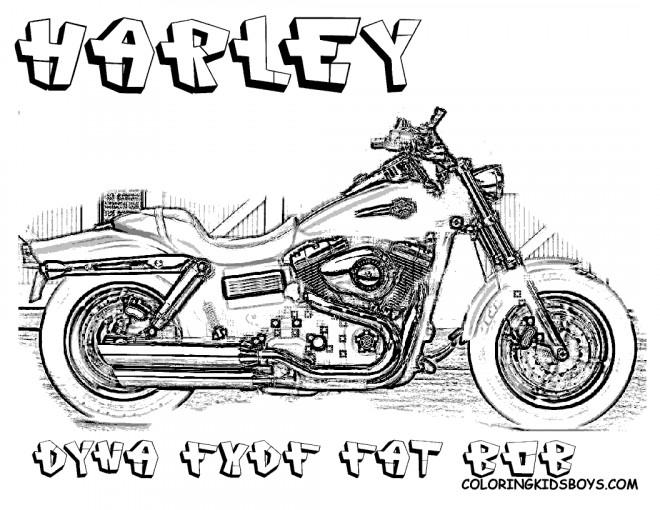Coloriage Harley Davidson Dyna Fat Bob FXDF dessin gratuit