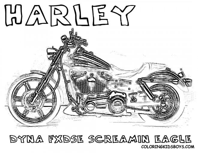 Coloriage Harley Davidson Dyna screaming Eagle dessin